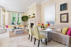 Beautiful and bright living/dining room.