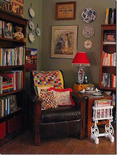 Cozy side room turned into mini library and movie storage