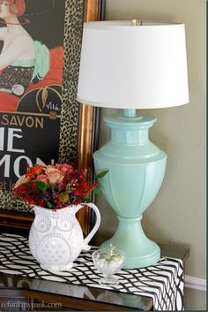 Krylon Spray Painted Lamp in Catalina Mist via Refunk My Junk