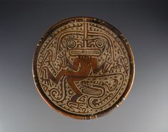 """Veraguas culture, """"Pedestal plate with serpent and reptile-human figure,"""" 600-800; Indianapolis Museum of Art, Roger G. Wolcott Fund, 1993.6"""