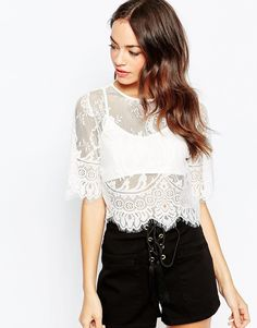 Image 1 ofDaisy Street Lace Crop Top With Bralet