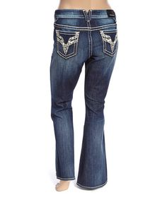 Look what I found on #zulily! Dark Wash Embellished Chelsea Bootcut Jeans - Plus #zulilyfinds