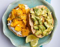 healthy happy life guaca-mango bagel
