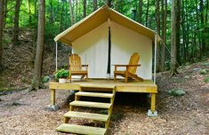 Camp Orenda: This family-owned retreat within Adirondack State Park is geared toward campers who want comfort. Adirondack chairs (of course) sit on the decks of five canvas tents equipped with wood-burning stoves and cedar-lined showers. From $160, all-inclusive. #travel #stay #NewYork
