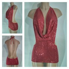 Sequin Cowl Front Mini Dress with Plunging by BasicTeaseBoutique