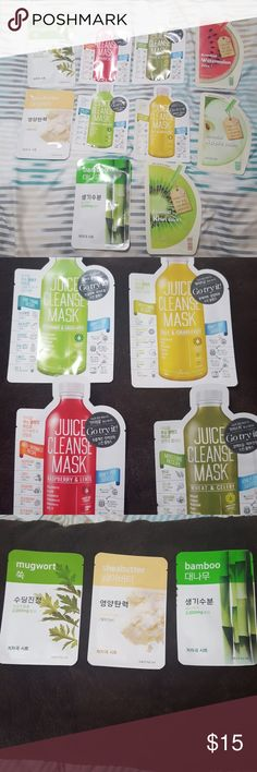 🇰🇷Korean sheet mask bundle!!🆕️ PRICE FIRM. WILL COME WITH FREE RANDOM SAMPLES! CANNOT SEPARATE BUNDLE, IT MUST BE SOLD AS A SET, SO PLEASE DO NOT ASK. THANKS FOR UNDERSTANDING!!! Set will come with 10 sheet masks shown in the first pic. Expiration dates are between August 17th to September 30th. Includes three sets of masks: ARIUL JUICE CLEANSE MASK: Kale & Grapefruit, Spearmint & Green Apple, Raspberry & Lentil, Wheat & Celery ARITAUM: Mugwort, bamboo, and shea butter ECOPURE ESSENTIAL…