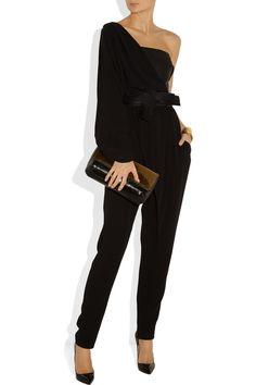 Lanvin|One-shoulder draped silk-crepe and duchesse-satin jumpsuit|NET-A-PORTER.COM
