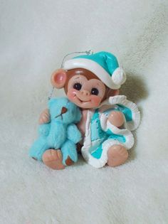 Monkey Baby Baby's first Christmas Ornament cake topper by clayqts