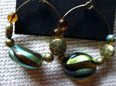 """Bronze Tone Mult-Color 1.5"""" Hoop Beaded Earrings #Hoop"""