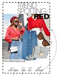 RED X DENIM by abbienaija on Polyvore featuring polyvore, fashion, style, Miss Selfridge, clothing, StreetStyle, MissSelfridge, trend, fashionblogger and spring2018