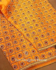 Aari Embroidery Bead and kundan stone work on Elbow length sleeve Design Cutwork Blouse Designs, Pattu Saree Blouse Designs, Simple Blouse Designs, Embroidery Neck Designs, Stylish Blouse Design, Bridal Blouse Designs, Aari Embroidery, Hand Work Blouse Design, Stone Work Blouse
