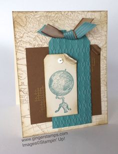 Stampin Up Traveler, World Map  Off the Grid; Soft Suede  Lost Lagoon Ink; Chocolate Chip, Lost Lagoon  Very Vanilla Paper