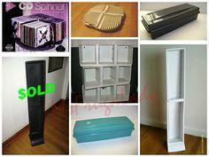 A Variety of MEDIA Storage-Organizer RACKS - Brand:  ALPHA  - Material:  PLASTIC  *CD Case *VHS Box *AudioTape CASSETTE [MsFrugaLady on ebay, 12/25/2013 - 30-day listing]
