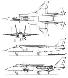 Schematic of the Yakovlev Yak-141, an experimental Russian supersonic VTOL fighter first flown in 1987 and never produced.