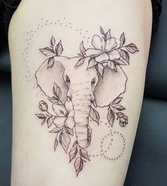 Geometric Elephant Tattoo, Mandala Elephant Tattoo, Elephant Thigh Tattoo, Geometric Sleeve Tattoo, Elephant Tattoo Design, Elephant Tattoos, Cute Thigh Tattoos, Floral Thigh Tattoos, Thigh Tattoo Designs