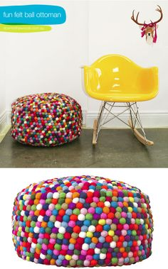 Felt ball ottoman for a child's room