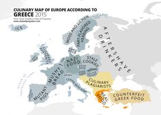 Culinary Map of Europe According to Greece, from Yanko Tsvetkov's Atlas of Prejudice: The Complete Stereotype Collection. The map is currently available exclusively in the ebook edition on iBooks (Version 1.1). Those of you who purchased Version 1.0...