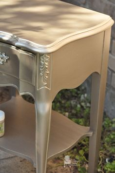 French Provincial Nightstands finished in Modern Masters Nickel & Champagne Metallic Paint | By Vintage Charm Restored