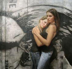 "Gallery Henoch - David Kassan, The Genne Sisters, Oil on Panel, 48"" x 50"""