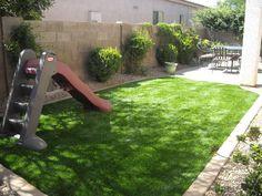 Artificial turf, minimal upkeep, always looks green...