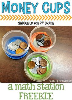Cups is a FREE center activity to reinforce counting coins. It is great for practicing money in the primary grades.Money Cups is a FREE center activity to reinforce counting coins. It is great for practicing money in the primary grades. 2nd Grade Classroom, Math Classroom, Future Classroom, Classroom Setup, Math Stations, Math Centers, Maths 3e, Guided Maths, Counting Coins