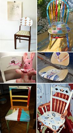 Chairs with an handmade touch; love the one with the Mexican cut paper.