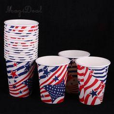 18Pcs/Lot 9oz USA Flag Style Disposable Paper Cups