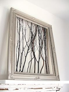 On either side of bedroom window -- Framed Twigs