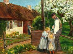 Hans Andersen Brendekilde ~ Gathering Water From the Well Gottfried Helnwein, Vie Simple, Jasper Johns, Vintage Children, Art Children, Beautiful Paintings, Art For Kids, Sculpting, Scandinavian