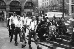 Skinheads, Piccadilly Circus, London, circa late 1970's early '80's.