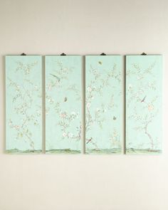 """Four Kariya Turquoise Floral Wall Panels 70"""" W x 0.75"""" D x 48"""" H / at Neiman Marcus."""