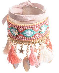 Tobilleras cubrebotas hippies chic en color: beige, rosa y verde claro en…