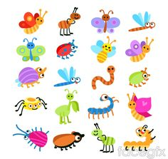 Free download 20 cartoon insect vector . Free vector includes ants, butterflies, dragonflies, ladybugs, bees, caterpillars, praying mantis, spiders, insects, ve