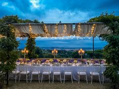 Stunning view and beautiful table at a Tuscan Sunset