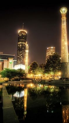 park, usa, centennial atlanta, night, hdr