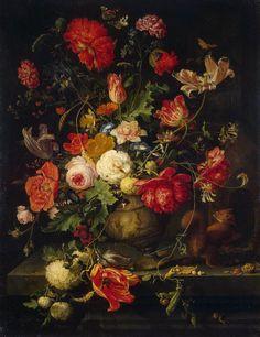 Vase of Flowers, Abraham Mignon. Dutch Baroque Era Painter (1640 - 1679)