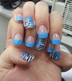 Bright blue w/Zebra stripe on white Acrylic Set. --Jan 2013--