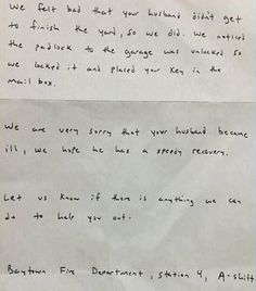 Man Was Taken by Emergency Responders to the Hospital. When His Family Returned Home, This Note Was Waiting for Them.
