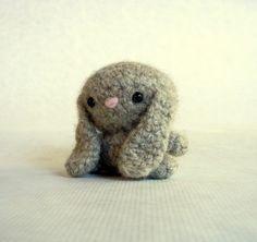 Bitty Bunny Felted Wool Crochet Toy Ecru Mini. $19.00 by MillieFern