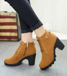 Really Classic, simple design and pure color, all-matched Martin Boots. Fashion Woman's Ankle Faux Fur Mid Heel Short Martin Boots