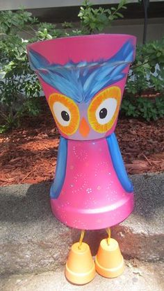 12 Whimsical Owl Planter Pot Person People by GARDENFRIENDSNJ, $30.00