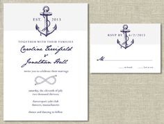 Nautical Wedding Invitation & RSVP Card Set DIY by thegirlinplaid, $30.00
