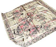 Vintage Ballerina Silk Scarf 50s Glentex Pink by MetroRetroVintage