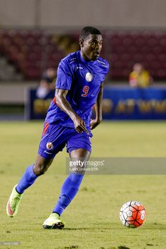 Kervens Belfort of Haiti drives the ball during the match between Trinidad & Tobago and Haiti as part of the Copa America Centenario Qualifiers at Rommel Fernandez Stadium on January 08, 2016 in Panama City, Panama.