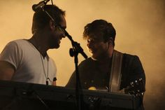 Ben Lovett and Marcus Mumford of Mumford & Sons perform at Lollapalooza on August 3, 2013. Photo © Pat Levy.