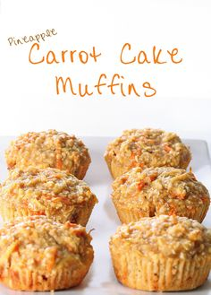 Use Coconut Oil - Pineapple Carrot Muffins - subbed coconut oil, and used an entire bag of baby carrots (grated) - 9 Reasons to Use Coconut Oil Daily Coconut Oil Will Set You Free — and Improve Your Health!Coconut Oil Fuels Your Metabolism! Breakfast Muffins, Breakfast Recipes, Breakfast Potatoes, Clean Eating Snacks, Healthy Snacks, Healthy Baking, Pineapple Muffins, Pineapple Coconut, Crushed Pineapple