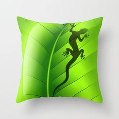 SOLD! #Lizard #Gecko #Shape on #Green #Leaf Throw #Pillow by #BluedarkArt | #Society6    https://society6.com/product/lizard-gecko-shape-on-green-leaf_pillow#25=193&18=126