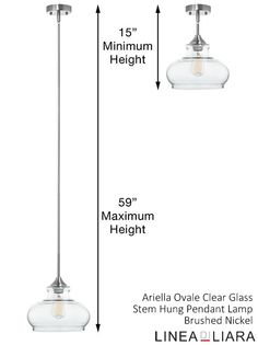 Ariella Ovale Clear Glass Pendant Lamp, Brushed Nickel by Linea di Liara ✦ Uses 1 Medium Base (E26) Bulb - 60W Max (Not Included) ✦ http://lineadiliara.com/products/ariella-ovale-pendant #Lighting