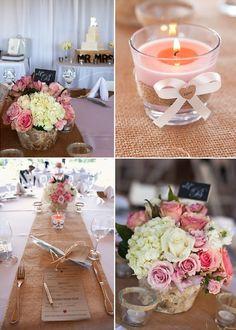 Hochzeitsdeko in pink und weiß Blumen an der Tisch Jute Hochzeitsdeko und Einladungskarten Inspiration