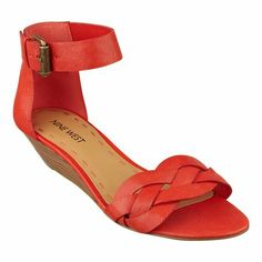 """A braided toe strap brings added interest to Valci, a breezy ankle-strap sandal that simply can't wait for warm weather! Adjustable buckle closure. Padded footbed for all-day comfort. Leather upper. Man-made lining and sole. Imported. Stacked 1 1/2"""" heels. Ankle strap sandals."""